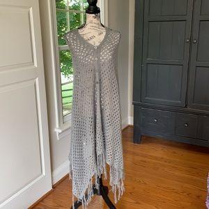 LuLaRoe Mimi Gray Knit with Fringe Shaw